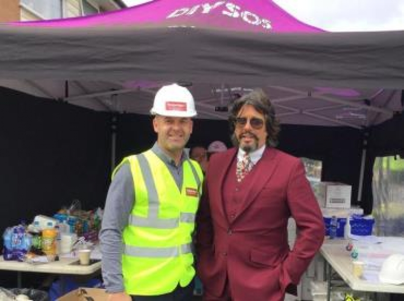 Chris Clark on site with Laurence Llewelyn-Bowen for DIY SOS